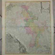 Arte: GRAN MAPA DEL CURSO DE LOS RÍOS RHIN Y MOSELA (ALEMANIA), 1720. HOMANN/NOLIN. Lote 53372363