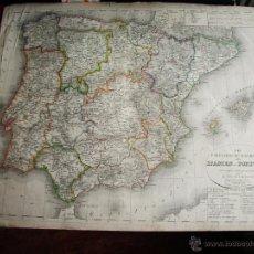Art: 1830-MAPA DE ESPAÑA Y PORTUGAL. IMPRESO EN ALEMANIA. GRANDE. ORIGINAL. Lote 53390980