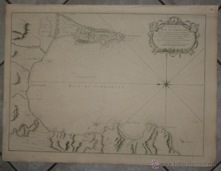 GRAN CARTA NÁUTICA DE LA BAHÍA DE GIBRALTAR (ESPAÑA), 1762. J. N. BELLIN (Arte - Cartografía Antigua (hasta S. XIX))