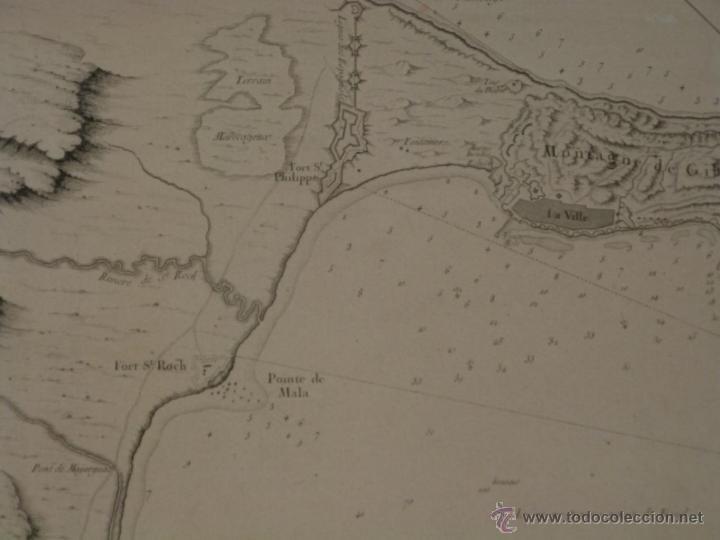 Arte: Gran carta náutica de la bahía de Gibraltar (España), 1762. J. N. Bellin - Foto 3 - 53430714