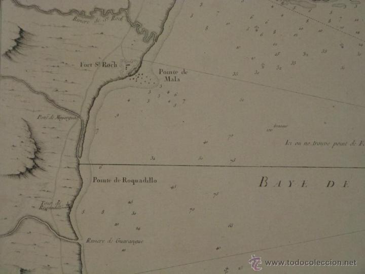 Arte: Gran carta náutica de la bahía de Gibraltar (España), 1762. J. N. Bellin - Foto 4 - 53430714