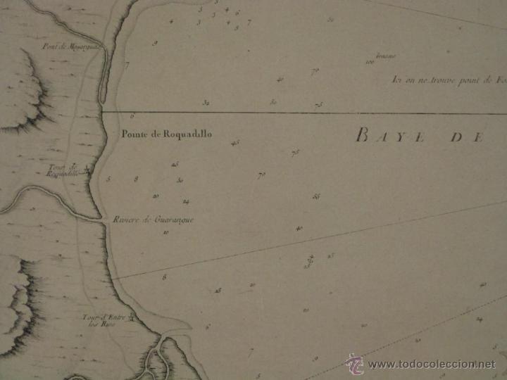 Arte: Gran carta náutica de la bahía de Gibraltar (España), 1762. J. N. Bellin - Foto 5 - 53430714