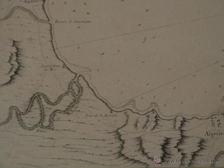 Arte: Gran carta náutica de la bahía de Gibraltar (España), 1762. J. N. Bellin - Foto 6 - 53430714