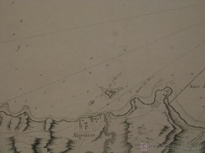 Arte: Gran carta náutica de la bahía de Gibraltar (España), 1762. J. N. Bellin - Foto 7 - 53430714