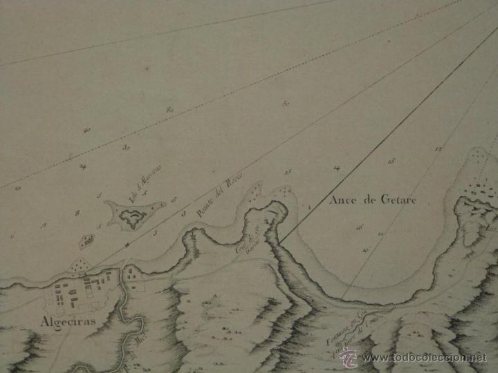 Arte: Gran carta náutica de la bahía de Gibraltar (España), 1762. J. N. Bellin - Foto 8 - 53430714