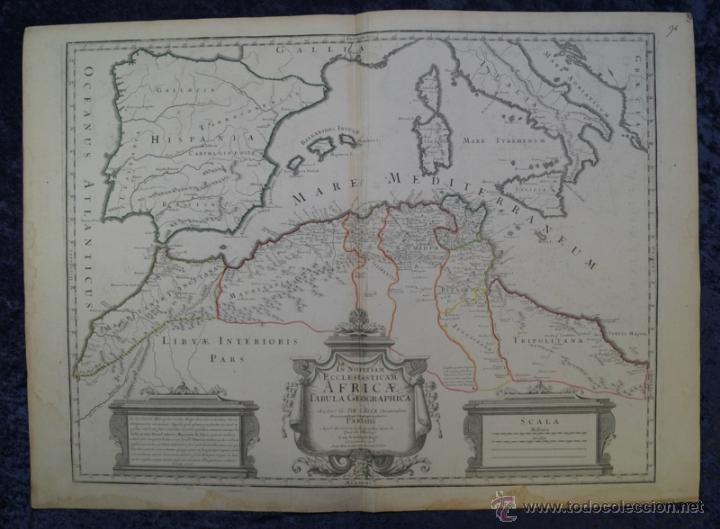 MAPA DEL NORTE DE ÁFRICA Y ESPAÑA, 1700. G. DE L'ISLE (Arte - Cartografía Antigua (hasta S. XIX))