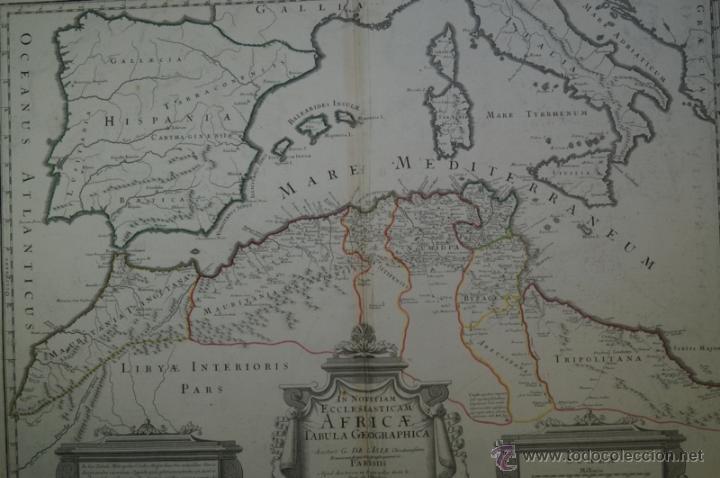 Arte: Mapa del norte de África y España, 1700. G. De LIsle - Foto 2 - 53432457
