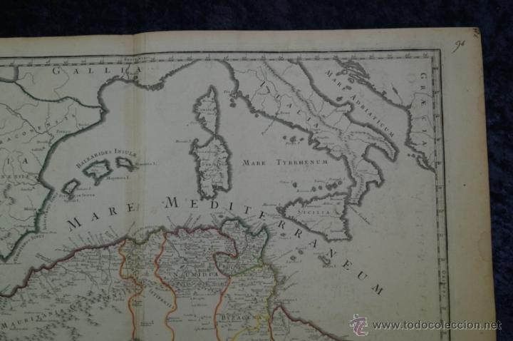 Arte: Mapa del norte de África y España, 1700. G. De LIsle - Foto 16 - 53432457