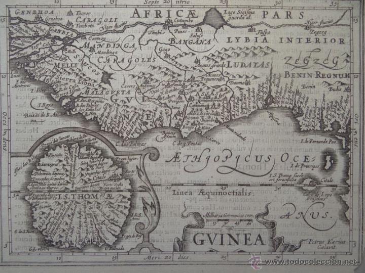 Arte: Mapa de Guinea, Sierra Leona y Costa de Marfil, 1630. Mercator/Hondius/Kaerius - Foto 2 - 53806944