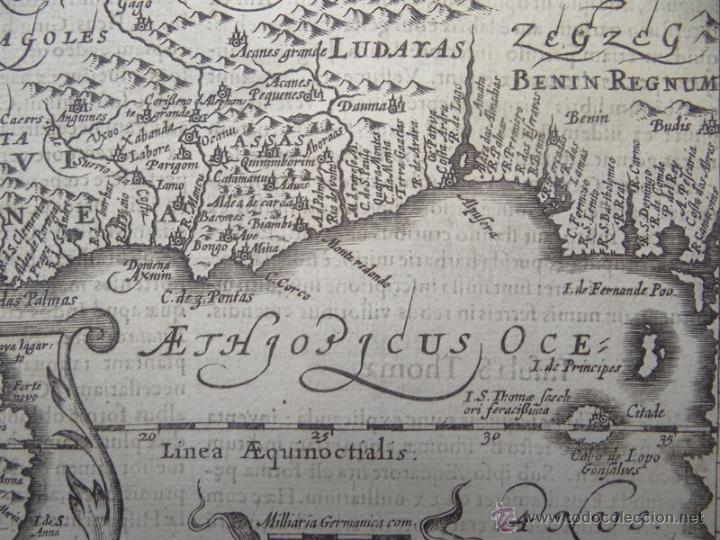 Arte: Mapa de Guinea, Sierra Leona y Costa de Marfil, 1630. Mercator/Hondius/Kaerius - Foto 4 - 53806944