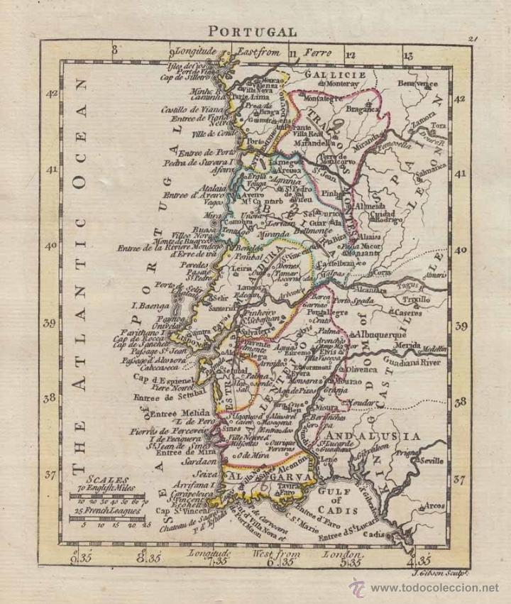 MAPA DE PORTUGAL, 1761. JOHN GIBSON/ANDREW DURY (Arte - Cartografía Antigua (hasta S. XIX))