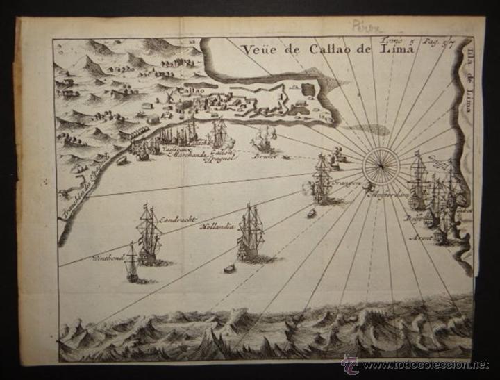 VISTA DEL PUERTO DE LIMA, (PERÚ, AMÉRICA DEL SUR) 1725. DE RENNEVILLE/BERNARD (Arte - Cartografía Antigua (hasta S. XIX))