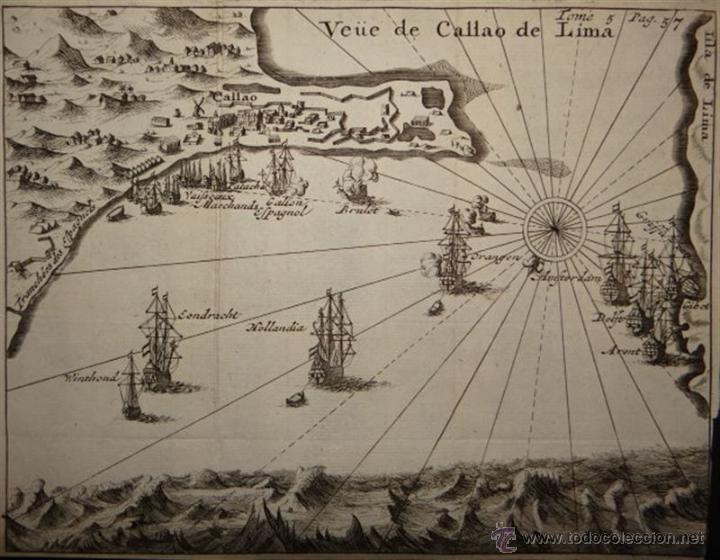 Arte: Vista del Puerto de Lima, (Perú, América del sur) 1725. De Renneville/Bernard - Foto 2 - 53807878
