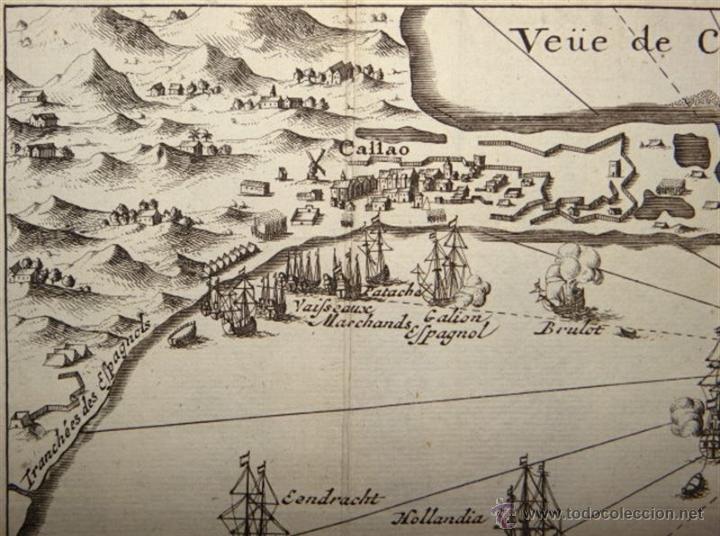 Arte: Vista del Puerto de Lima, (Perú, América del sur) 1725. De Renneville/Bernard - Foto 3 - 53807878