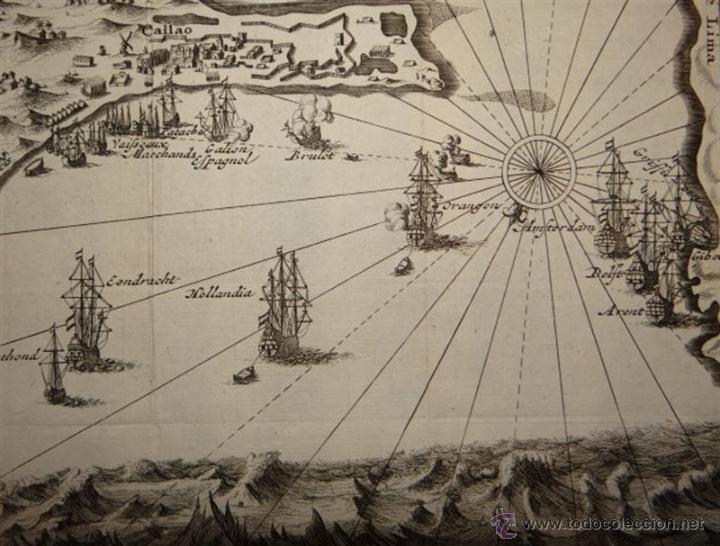 Arte: Vista del Puerto de Lima, (Perú, América del sur) 1725. De Renneville/Bernard - Foto 4 - 53807878