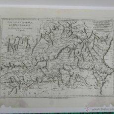 Arte: MAPA ANTIGUO DE ESPAÑA (CASTILLA LA MANCHA, EXTREMADURA Y VALENCIA), BONNE, CA. 1780. Lote 53971378
