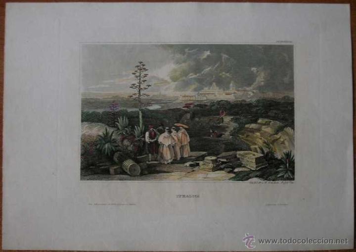 VISTA DE LA CIUDAD ROMANA DE ITÁLICA (SEVILLA, ESPAÑA), 1841. MEYER (Arte - Cartografía Antigua (hasta S. XIX))