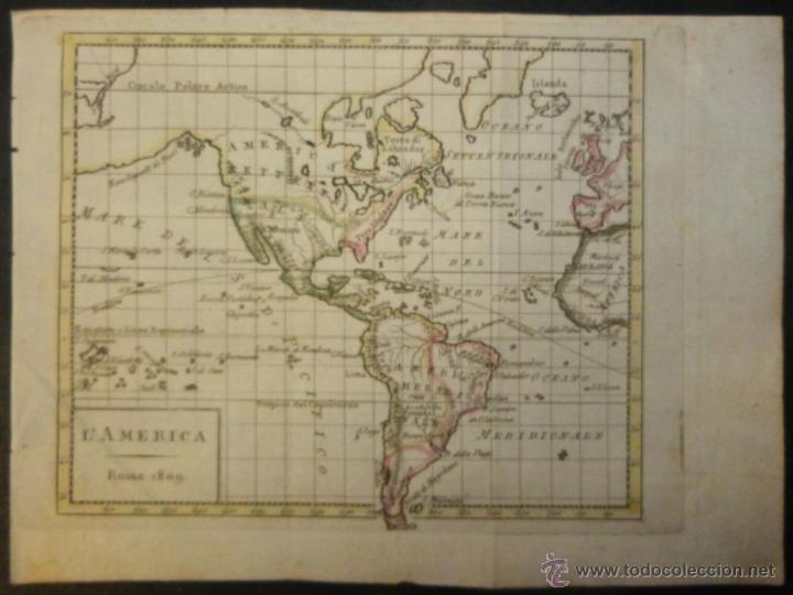 MAPA DE AMÉRICA DEL NORTE Y SUR ,1809. (Arte - Cartografía Antigua (hasta S. XIX))