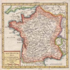 Arte: MAPA DE FRANCIA, 1755. ROBERT VAUGONDY/ CROZAT. Lote 53976658