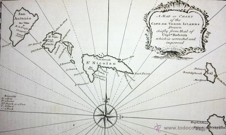 Arte: Mapa antiguo islas de Cabo Verde año 1744 con certif. autentic.. Mapas antiguos Cabo Verde Africa - Foto 2 - 52879090