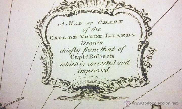 Arte: Mapa antiguo islas de Cabo Verde año 1744 con certif. autentic.. Mapas antiguos Cabo Verde Africa - Foto 3 - 52879090