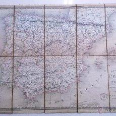 Arte: 11.44 ANTIGUO MAPA DE ESPAÑA, ANDORRA, PORTUGAL, PLEGABLE, FORRADO EN TELA,1838 FABRICADO EN FRANCIA. Lote 54058932