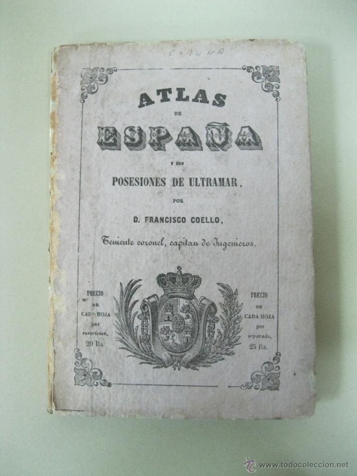 Arte: Atlas de España ( Mapa de A Coruña),1856. Francisco Coello/Madoz - Foto 2 - 54579074