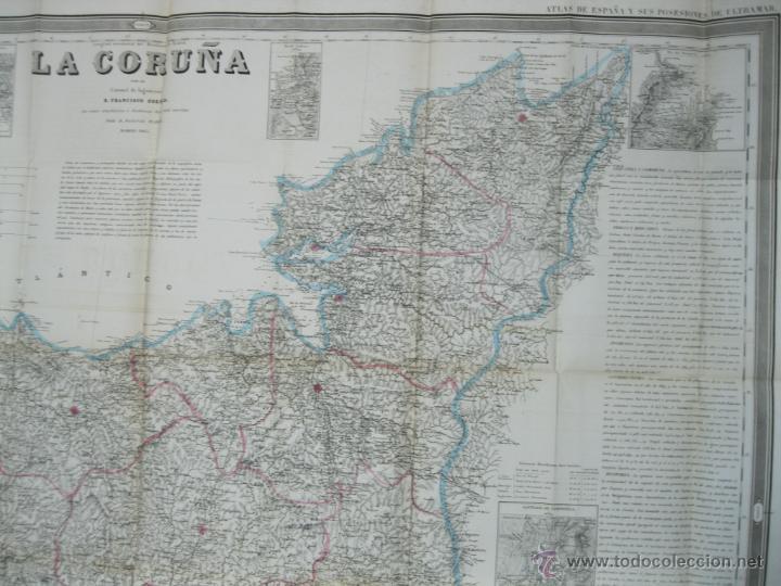 Arte: Atlas de España ( Mapa de A Coruña),1856. Francisco Coello/Madoz - Foto 3 - 54579074