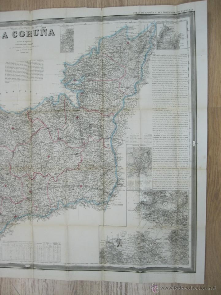 Arte: Atlas de España ( Mapa de A Coruña),1856. Francisco Coello/Madoz - Foto 7 - 54579074