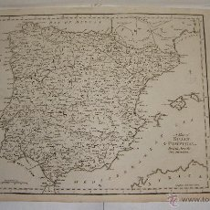 Arte: ANTIGUO MAPA DE ESPAÑA Y PORTUGAL. 1795. A MAP OF SPAIN & PORTUGAL, DRAWN FROM THE BEST AUTHORIT. Lote 54761058