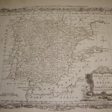 Arte: ANTIGUO MAPA DE ESPAÑA Y PORTUGAL. S.XVIII. A NEW AND ACCURATED MAP OF SPAIN AND PORTUGAL. MILLAR´S. Lote 54761183