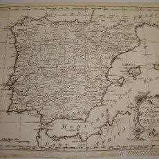 Arte: ANTIGUO MAPA GRABADO DE ESPAÑA Y PORTUGAL. 1773. A NEW AND ACCURATED MAP OF SPAIN AND PORTUGAL.. Lote 54761334