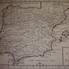Arte: ANTIGUO MAPA DE ESPAÑA Y PORTUGAL. S.XVIII. A MAP OF SPAIN. 33 CM X 24 CM. Lote 54767241