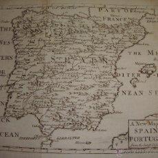 Arte: ANTIGUO MAPA GRABADO DE ESPAÑA Y PORTUGAL. 1722. A NEW MAP OF SPAIN & PORTUGAL.. Lote 54767692