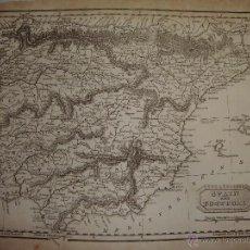 Arte: ANTIGUO MAPA DE ESPAÑA Y PORTUGAL. S.XVIII. SPAIN AND PORTUGAL. 27 CM X 21 CM. Lote 54767749