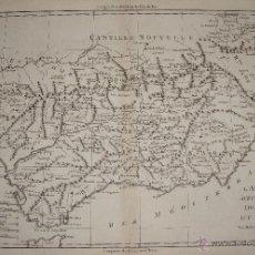 Arte: MAPA GRABADO. 1787. MAPA DE ANDALUCIA. L´ANDALOUSIE AVEC LES ROYAUMES DE GRANADE ET MURCIE.. Lote 54789555