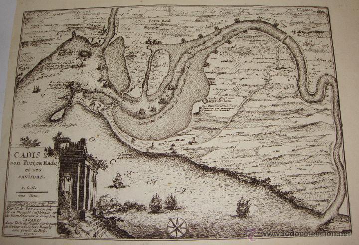 GRABADO DE CADIZ DEL S.XVIII. CADIS, SON PORT, SA RADE ET SES ENVIRONS. NICOLAS DE FER. 1702. (Arte - Cartografía Antigua (hasta S. XIX))