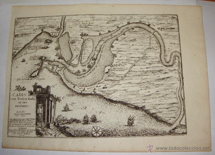 Arte: Grabado de Cadiz del S.XVIII. Cadis, son Port, sa Rade et ses Environs. Nicolas de Fer. 1702. - Foto 2 - 54912535