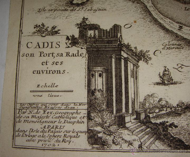 Arte: Grabado de Cadiz del S.XVIII. Cadis, son Port, sa Rade et ses Environs. Nicolas de Fer. 1702. - Foto 3 - 54912535