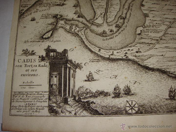 Arte: Grabado de Cadiz del S.XVIII. Cadis, son Port, sa Rade et ses Environs. Nicolas de Fer. 1702. - Foto 4 - 54912535