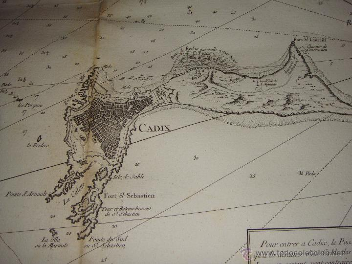 Arte: Carta Nautica de Cádiz. S.XVIII. Carte Hydrographique de la Baye de Cadix. 1762 - Foto 2 - 165041386