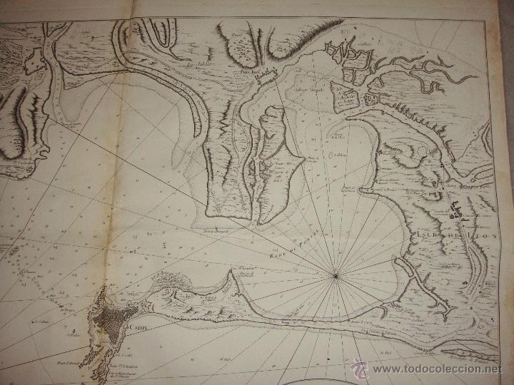 Arte: Carta Nautica de Cádiz. S.XVIII. Carte Hydrographique de la Baye de Cadix. 1762 - Foto 4 - 165041386