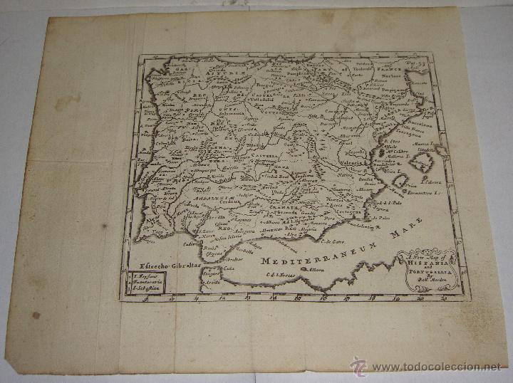 Arte: Mapa de España y Portugal. 1711. A NEW MAP OF HISPANIA AND AND PORTUGALLIA by Rob. Morden. - Foto 2 - 54914055