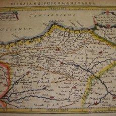 Arte: ANTIGUO MAPA GRABADO DE BIZCAYA, GUIPUZCOA Y NAVARRA. 1628. ILUMINADO. BISCAIA, GUIPUSCOA & NAVARRA. Lote 55058741