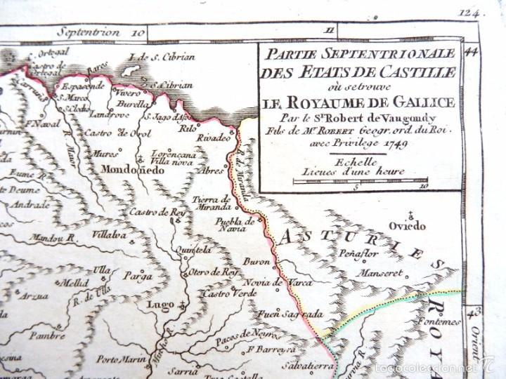 Arte: Mapa antiguo Galicia año 1749 Vaugondy con certificado autenticidad. Mapas antiguos Galicia - Foto 2 - 55115041