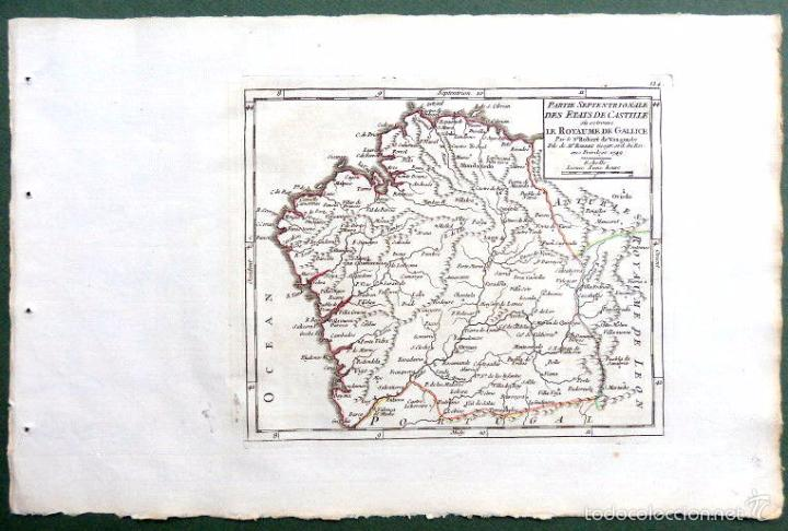 Arte: Mapa antiguo Galicia año 1749 Vaugondy con certificado autenticidad. Mapas antiguos Galicia - Foto 3 - 55115041