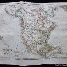 Arte: MAPA DE AMÉRICA DEL NORTE POR J. B. POIRSON, GRABADO AL ACERO, COLOREADO A MANO, C. 1830. GEOGRAFÍA. Lote 55125364