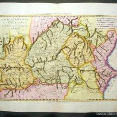 Arte: MAPA ANTIGUO DE EXTREMADURA, CASTILLA, MADRID Y VALENCIA (BONNE, 1787). Lote 55149198