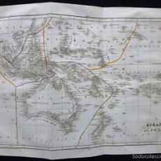 Arte: MAPA DE OCEANÍA POR J. B. POIRSON, GRABADO AL ACERO, COLOREADO A MANO, C. 1830. CARTA GEOGRÁFICA. Lote 55232734