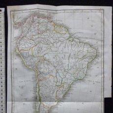 Arte: MAPA DE AMÉRICA DEL SUR POR J. B. POIRSON, GRABADO AL ACERO, COLOREADO A MANO, C. 1830. CARTA, RARO. Lote 55863376
